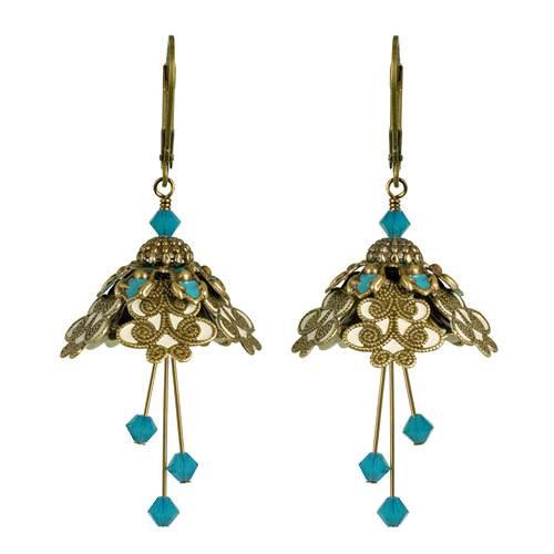 Flower Fairy Earrings -Spellbinder Turquoise and Gold