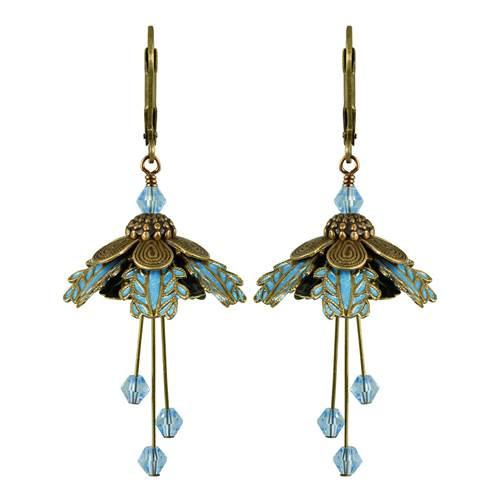 Flower Fairy Earrings - Palm Beach Blue and Gold