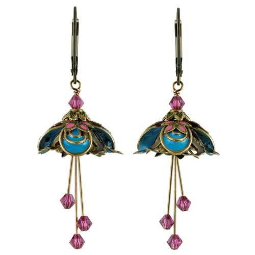 Flower Fairy Earrings - Masquerade Turquoise and Fuscia