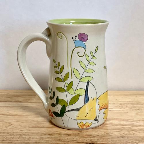 """Handmade Pottery Mug Fox Collection 5.5"""" Tall 16 oz"""