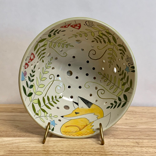 Handmade Pottery Berry Bowl in Fox Collection