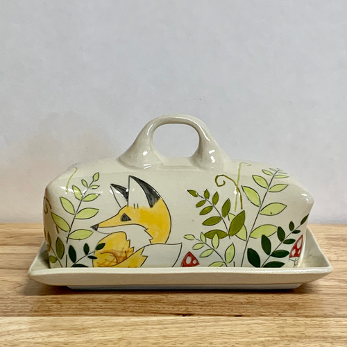Handmade Pottery Butter Dish in Fox Collection