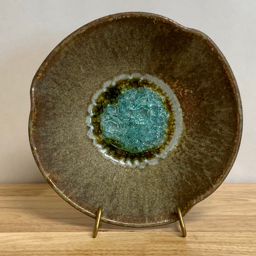 Handmade  Pottery 3 Pinch Bowl with Crackle Glass Bottom