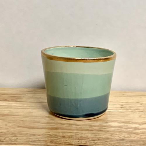 Ceramic Tumbler in Ocean with 22k Gold