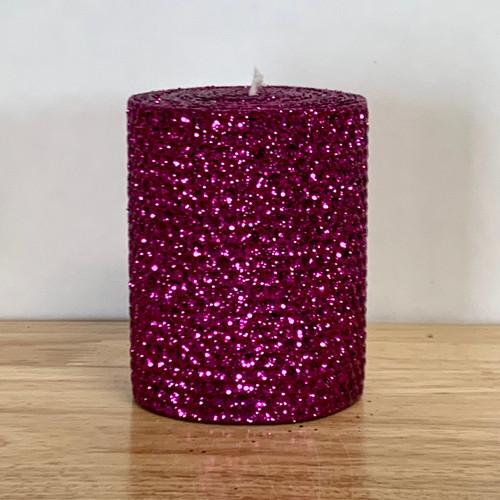 """3x4"""" Beeswax Honeycomb Pillar Candle  - Wine Natural/Iridescent/Metallic"""