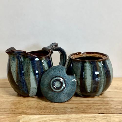 Handmade Pottery Cream and Sugar Set in a Stunning  Blue Jasper Glaze