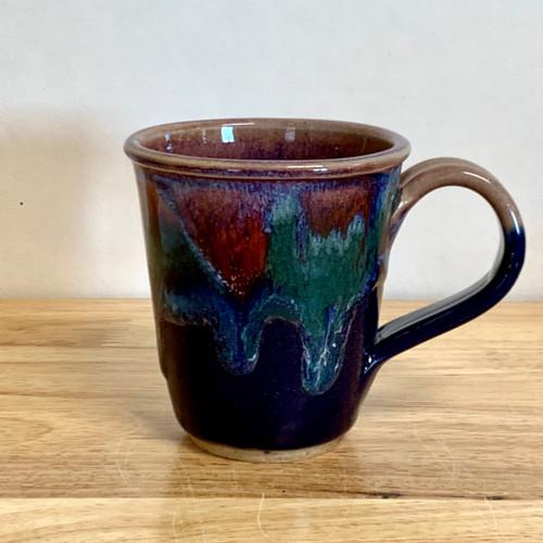 Handmade Coffee Mug  Blue and Lavender Short
