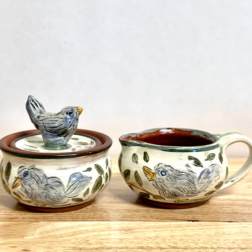 Handmade Pottery Cream and Sugar Set . Hand Carved .Truly One of a Kind!