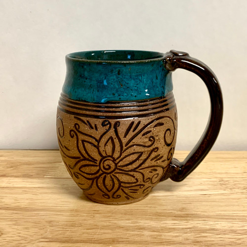 Pottery Mug with a Saying - Bright Teal with Carved Brown Flower Band 14 oz