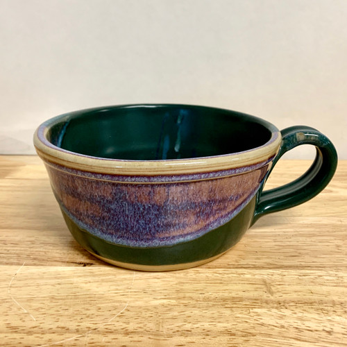 Handmade Chili/Soup Bowl with Handle  Green and Lavender 20 oz