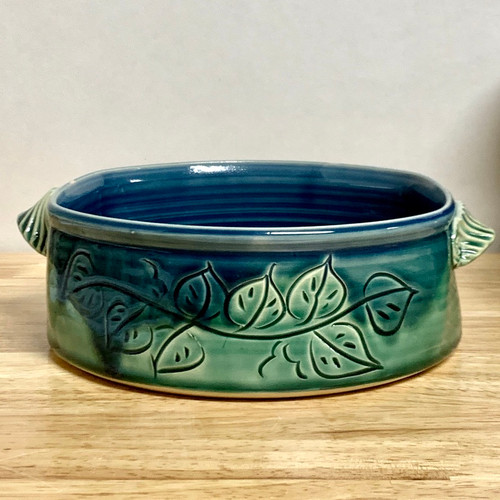Carved Leaf baking dish Green and Blue