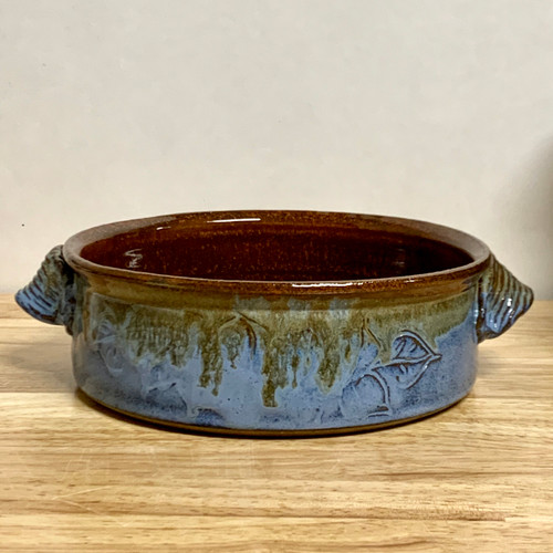 Carved Leaf baking dish Blue and Rust