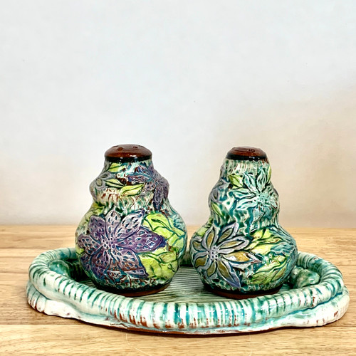 Handmade Pottery Salt and Pepper Shakers. Hand Carved .  One of a Kind!