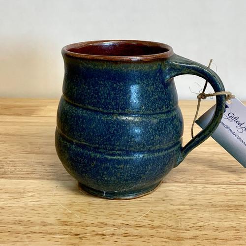 Handmade Rounded  Mug - Blue and Rust