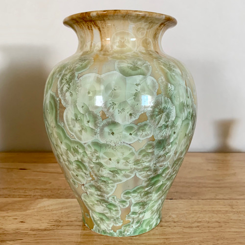 """Handmade Crystalline Vase Gold Base with Mint Green Crystals 8"""""""