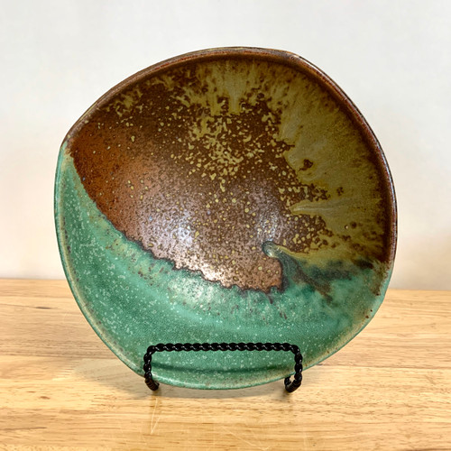 """Handmade Pottery Squared 8"""" Bowl with Green and Copper Glaze"""