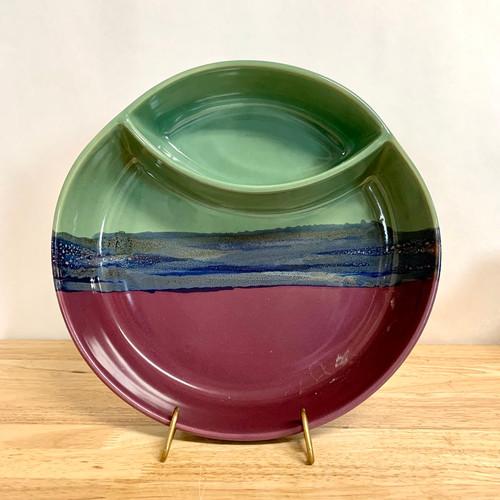 Chip and Dip Platter Purple/Green/Blue Glaze