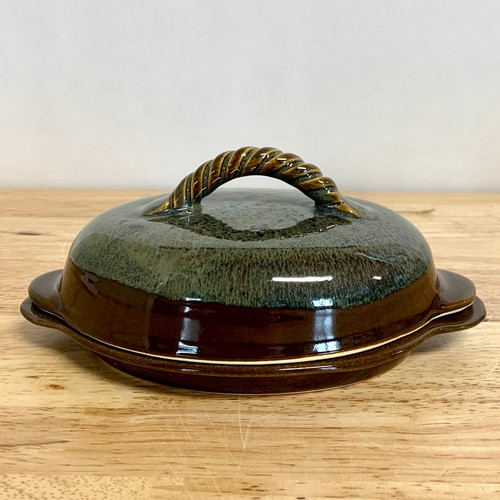Butter Dish  - Green/Brown/Accented Gold