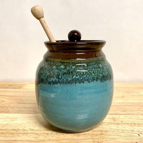 Ocean Tide Honey Pot Blue/Green/Brown Glaze