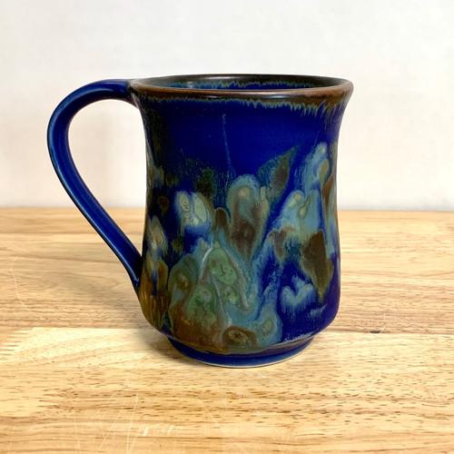 Handmade Pottery Mug with Botanical Flower Imagery in Blue