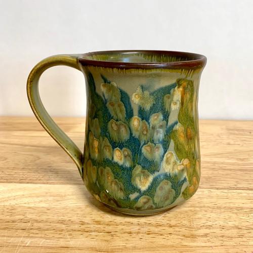 Handmade Pottery Mug with Botanical Flower Imagery in Green