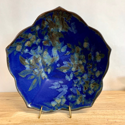 Handmade Pottery 6 Geo Bowl  Botanical Flower Imagery