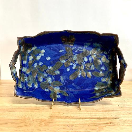 Handmade Pottery Deep Serving Dish  Botanical Flower Imagery
