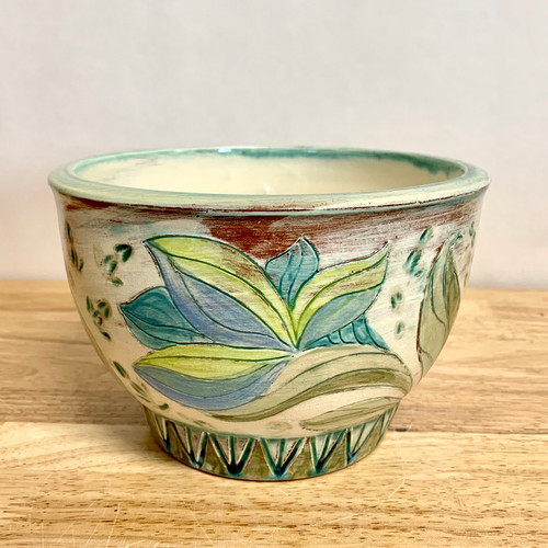 Handmade Pottery Bowl. with Flowers. Hand Carved One of a Kind!