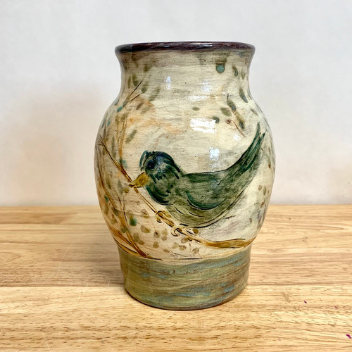 Handmade Pottery Vase with Birds Hand Carved One of a Kind!