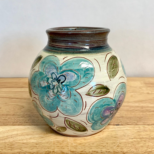 Handmade Pottery Vase with Blue Flowers Hand Carved One of a Kind!