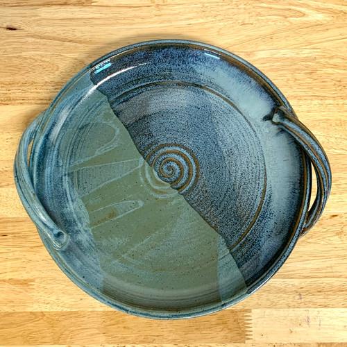 Handmade Serving Platter Blue Cheese Glaze