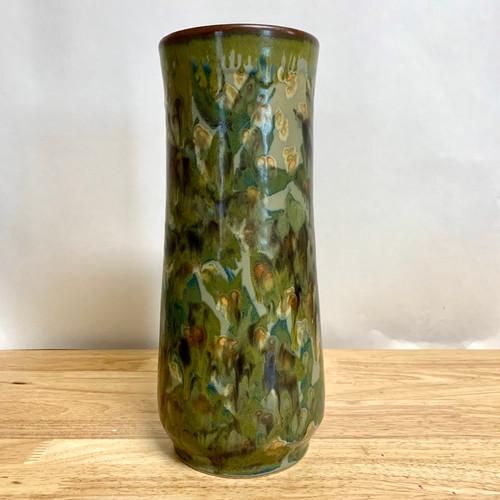 "Handmade Pottery Vase with Botanical Flower Imagery 11"""