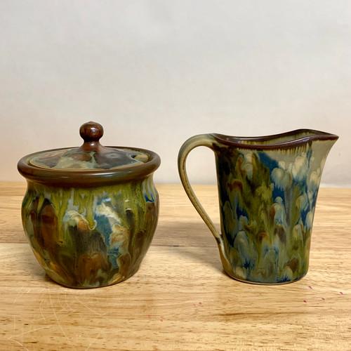 Handmade Pottery Cream & Sugar set  with Botanical Flower Imagery