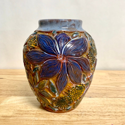 \Handmade Pottery Red Earthenware Vase -One of a Kind Flowers