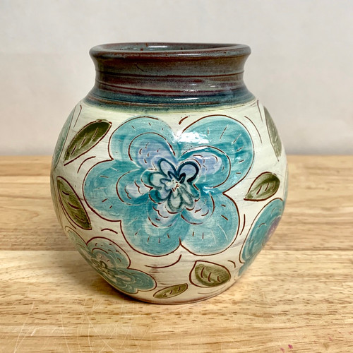 Handmade Pottery Red Earthenware Vase -One of a Kind Flowers