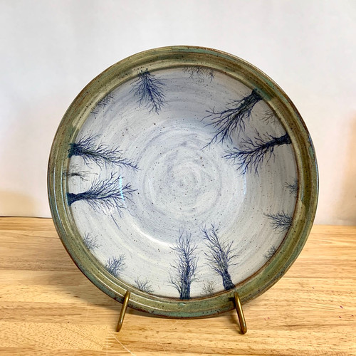 Handmade Pottery Serving Bowl with Interior Trees. One of a Kind!