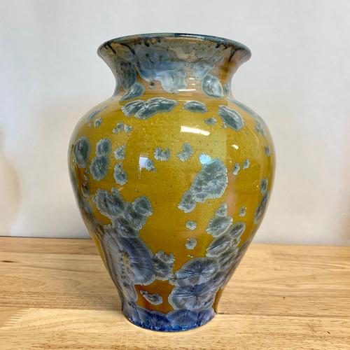 "Handmade Crystalline Vase Gold Base with Blue/Teal Crystals 8.5"""