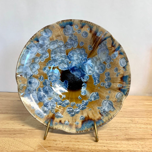 Handmade Crystalline Med. Serving Bowl with Blue Crystals-Beautiful!