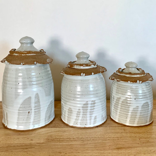 Handmade Pottery Canister Set-White 3 Pieces
