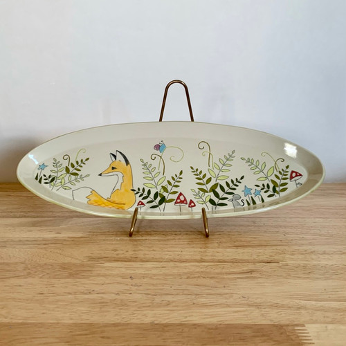 """Handmade Pottery Long Platter in Fox Collection 16"""" Long"""