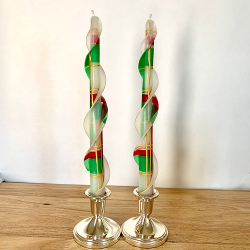 """100% Beeswax Double Flare White,  Red and Green 12"""""""