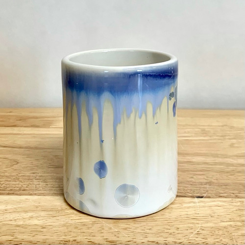 """Handmade Crystalline Whiskey Cup Ivory White and Blue 3.5"""" Tall"""