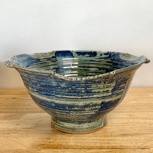"""Handmade Pottery Large Serving Bowl French Blue 11"""" Wide"""