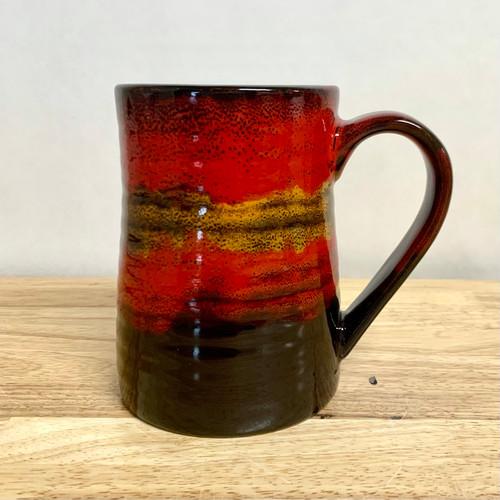 Handmade Pottery Desert  Red Large Tankard Mug 20 oz