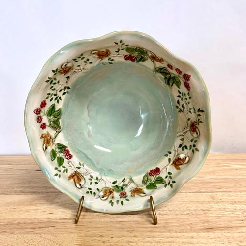 Handmade Porcelain Bowl Light Green with Wrens Around the Rim