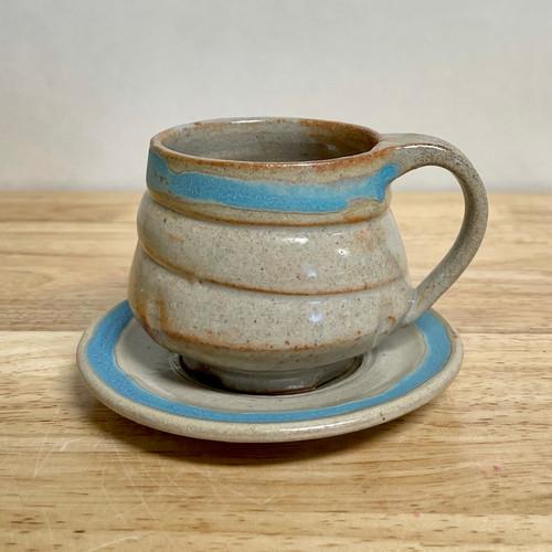 Handmade Pottery Cream Teacup and Saucer. One of a kind!