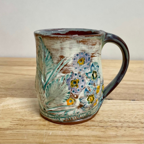 Handmade Pottery Mug with Lavender Flowers Hand Carved. One of a Kind!