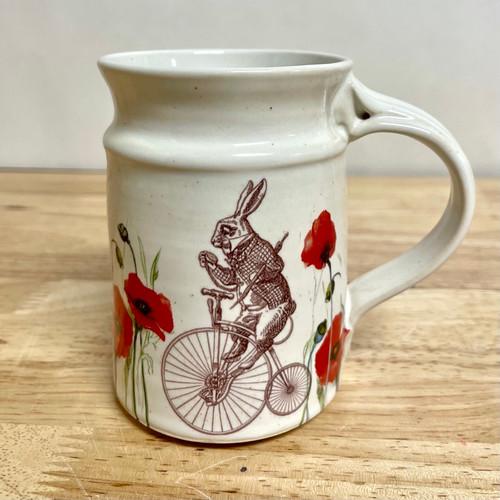 Handmade Bicycle Rabbit with Poppies  Cream 14 oz