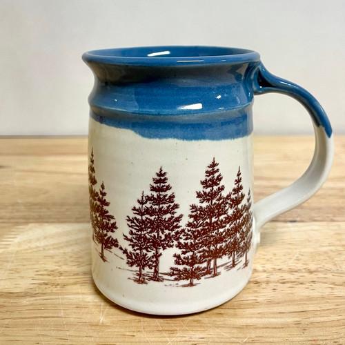 Handmade Mug Evergreen Tree with Blue Trim Cream 14 oz