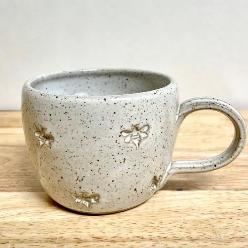 Handmade Pottery Tea Mug  Vanilla White with Honey Bees